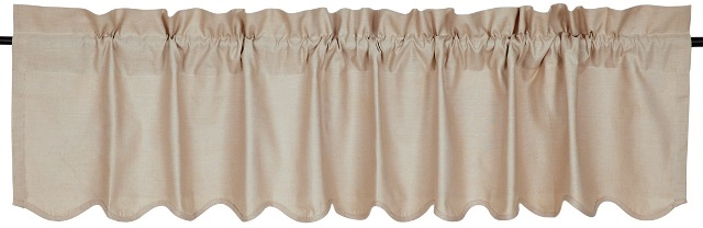 Charlotte Solid Natural Scalloped Valance 16x72