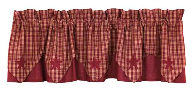 Burgundy Applique Star Valance Layered Lined