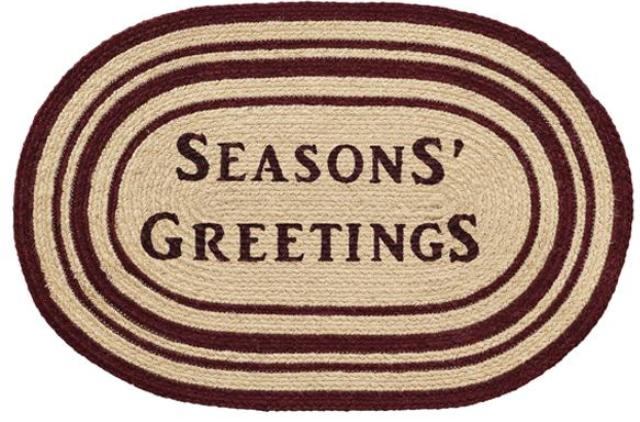 Burgundy Tan Jute Rug Oval Seasons Greetings 20x30
