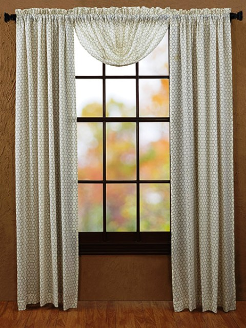 Fenced In Balloon Valance Tobacco Cloth Unlined 60x15