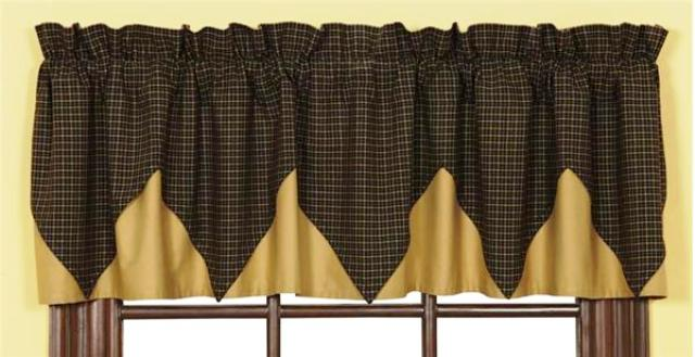 Kettle Grove Plaid Valance Layered Lined