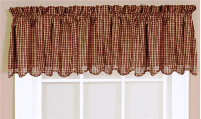 Patriotic Patch Plaid Valance Scalloped Lined 16x72