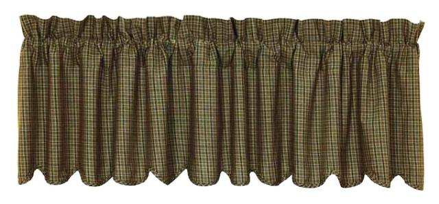 Tea Cabin Green Plaid Valance Scalloped Lined 16x72