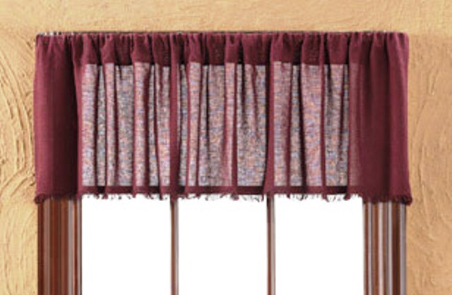 Tobacco Cloth Merlot Valance Fringed 16x72