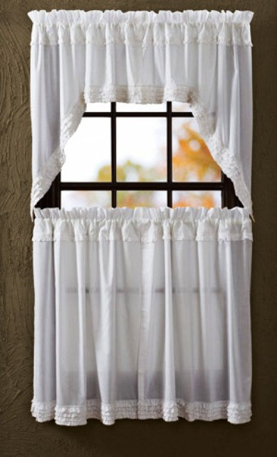 White Ruffled Sheer Swag Unlined Set of 2 36x36x16