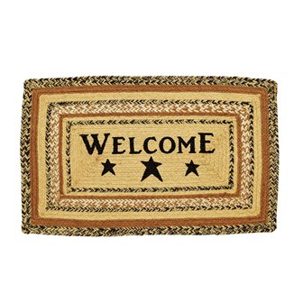 Kettle Grove Jute Rectangle Rug Stencil Welcome-Kettle Grove Jute Rectangle Rug Stencil Welcome