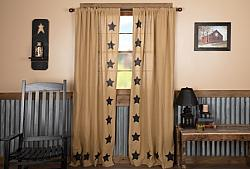 Burlap W/Black Stencil Stars Panel Curtain Set-Burlap WBlack Stencil Stars Panel Curtain Set