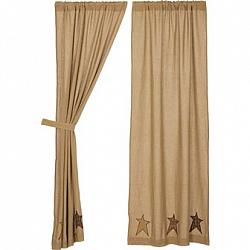 Stratton Burlap Applique Star Panels Curtain Set-Stratton Burlap Applique Star Panels Curtain Set