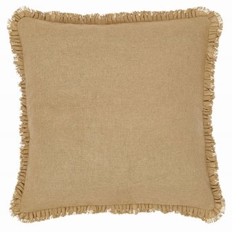 Burlap Natural Fabric Euro Sham W/Fringed Ruffle-Burlap Natural Fabric Euro Sham WFringed Ruffle