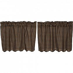 Black Check Scalloped Tier Curtain Set-Black Check Scalloped Tier Curtain Set