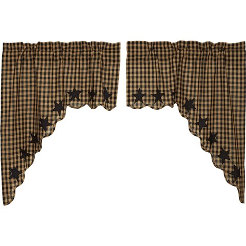Black Star Scalloped Swag Curtain Set-Black Star Scalloped Swag Curtain Set