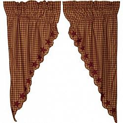 Burgundy Star Scalloped Prairie Short Panel Curtain Set-Burgundy Star Scalloped Prairie Short Panel Curtain Set