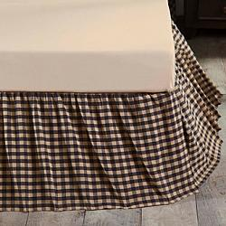 Navy Check King Bed Skirt-Navy Check King Bed Skirt