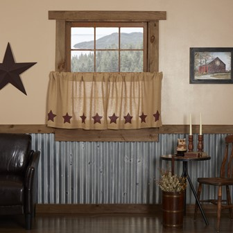 Burlap with Burgundy Stencil Stars Tier Set of 2 24x36