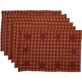 Burgundy Star Placemat Set of 6 12x18-Burgundy Star Placemat Set of 6 12x18