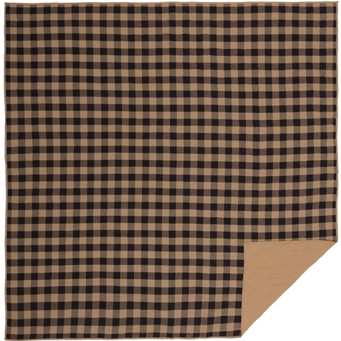 Black Check Queen Quilt Coverlet-Black Check Queen Quilt Coverlet
