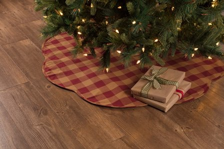 Burgundy Check Scalloped Tree Skirt-Burgundy Check Scalloped Tree Skirt