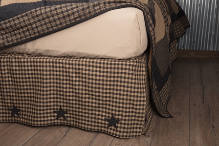 Black Check Star Queen Bed Skirt-Black Check Star Queen Bed Skirt
