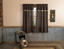 Kettle Grove Short Panel Curtain W/Attached Valance Curtain Block Border Set-Kettle Grove Short Panel Curtain WAttached Valance Curtain Block Border Set