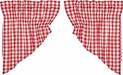 Annie Buffalo Red Check Prairie Swag Curtain Set-Annie Buffalo Red Check Prairie Swag Curtain Set