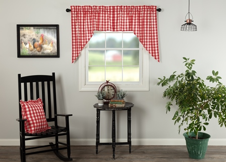 ANNIE BUFFALO RED CHECK SWAG CURTAIN SET OF 2 36X36X16-ANNIE BUFFALO RED CHECK SWAG CURTAIN SET OF 2 36X36X16