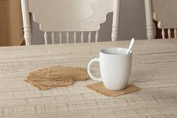 Burlap Natural Coaster Set Fringed-Burlap Natural Coaster Set Fringed