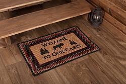 Cumberland Stenciled Moose Jute Rectangle Rug Welcome to the Cabin-Cumberland Stenciled Moose Jute Rectangle Rug Welcome to the Cabin