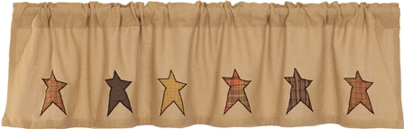 Stratton Burlap Applique Star Valance Curtain-Stratton Burlap Applique Star Valance Curtain