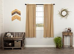Tobacco Cloth Khaki Short Panel Curtain Set Fringed-Tobacco Cloth Khaki Short Panel Curtain Set Fringed