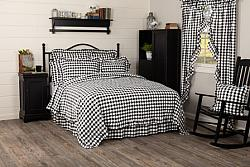 Annie Buffalo Black Check Ruffled Queen Quilt Coverlet-Annie Buffalo Black Check Ruffled Queen Quilt Coverlet
