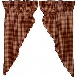 Burgundy Check Scalloped Prairie Short Panel Curtain Set-Burgundy Check Scalloped Prairie Short Panel Curtain Set