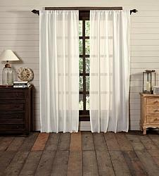 Tobacco Cloth Antique White Panel Curtain Set Fringed-Tobacco Cloth Antique White Panel Curtain Set Fringed