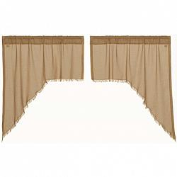Tobacco Cloth Khaki Swag Curtain Set Fringed-Tobacco Cloth Khaki Swag Curtain Set Fringed