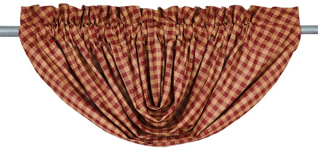 Burgundy Check Balloon Valance Lined