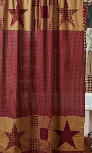 Ninepatch Star Shower Curtain With Patchwork Borders 72x72